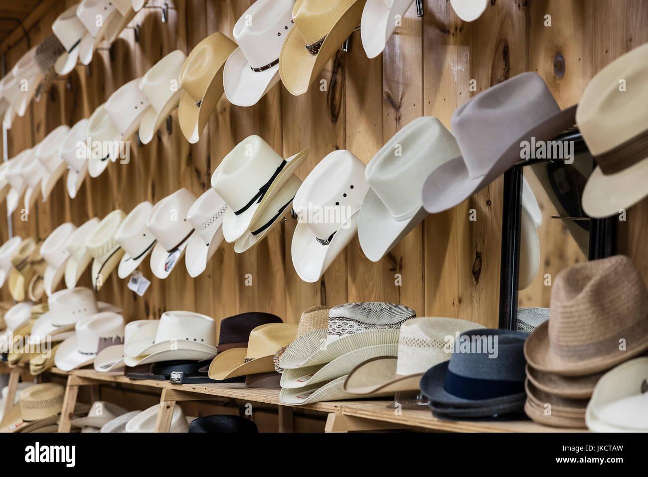 Store cowboy hat display. - Stock Image
