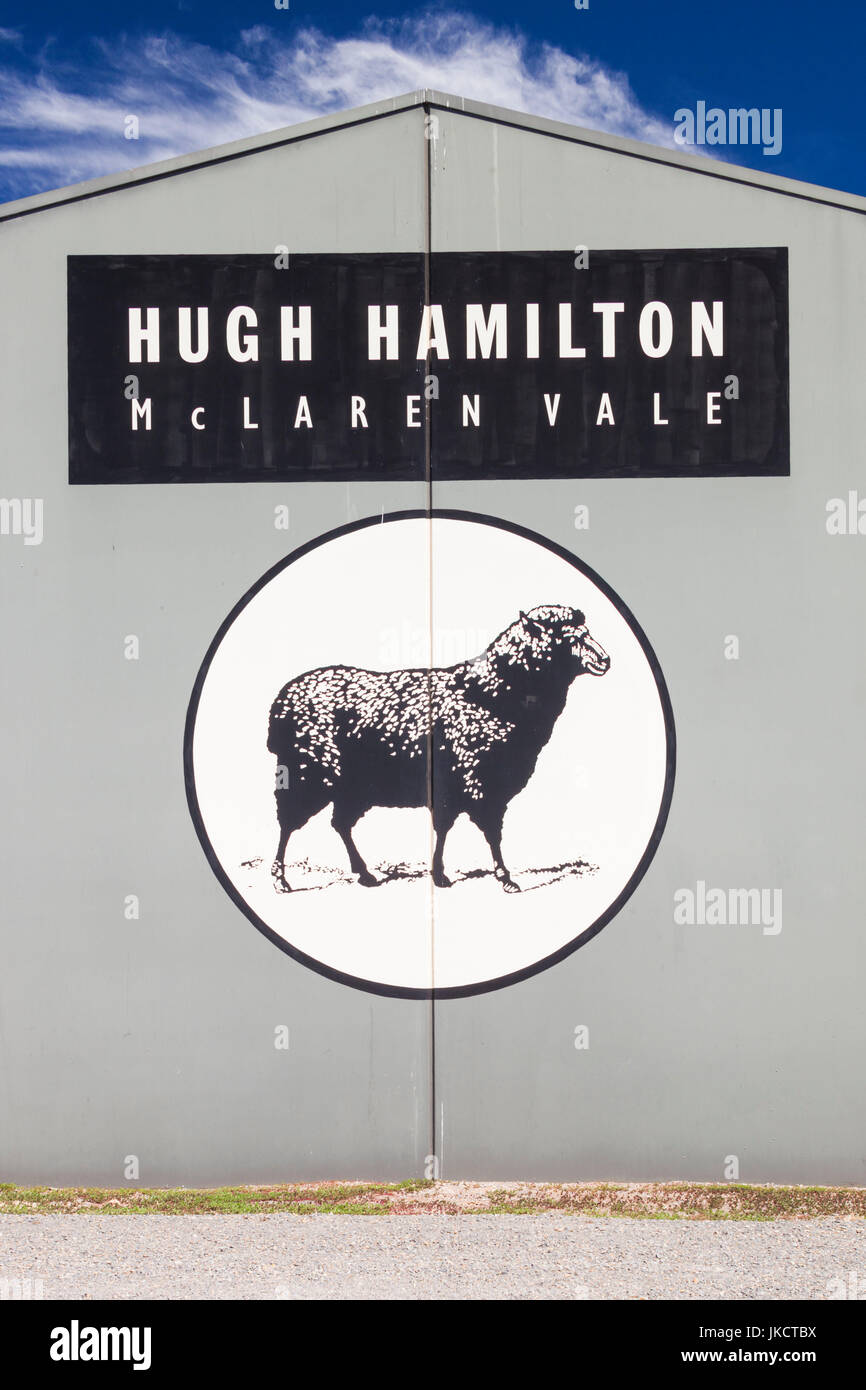 Australia, South Australia, Fleurieu Peninsula, McLaren Vale Wine Region, McLaren Vale, Hugh Hamilton Winery, sign - Stock Image