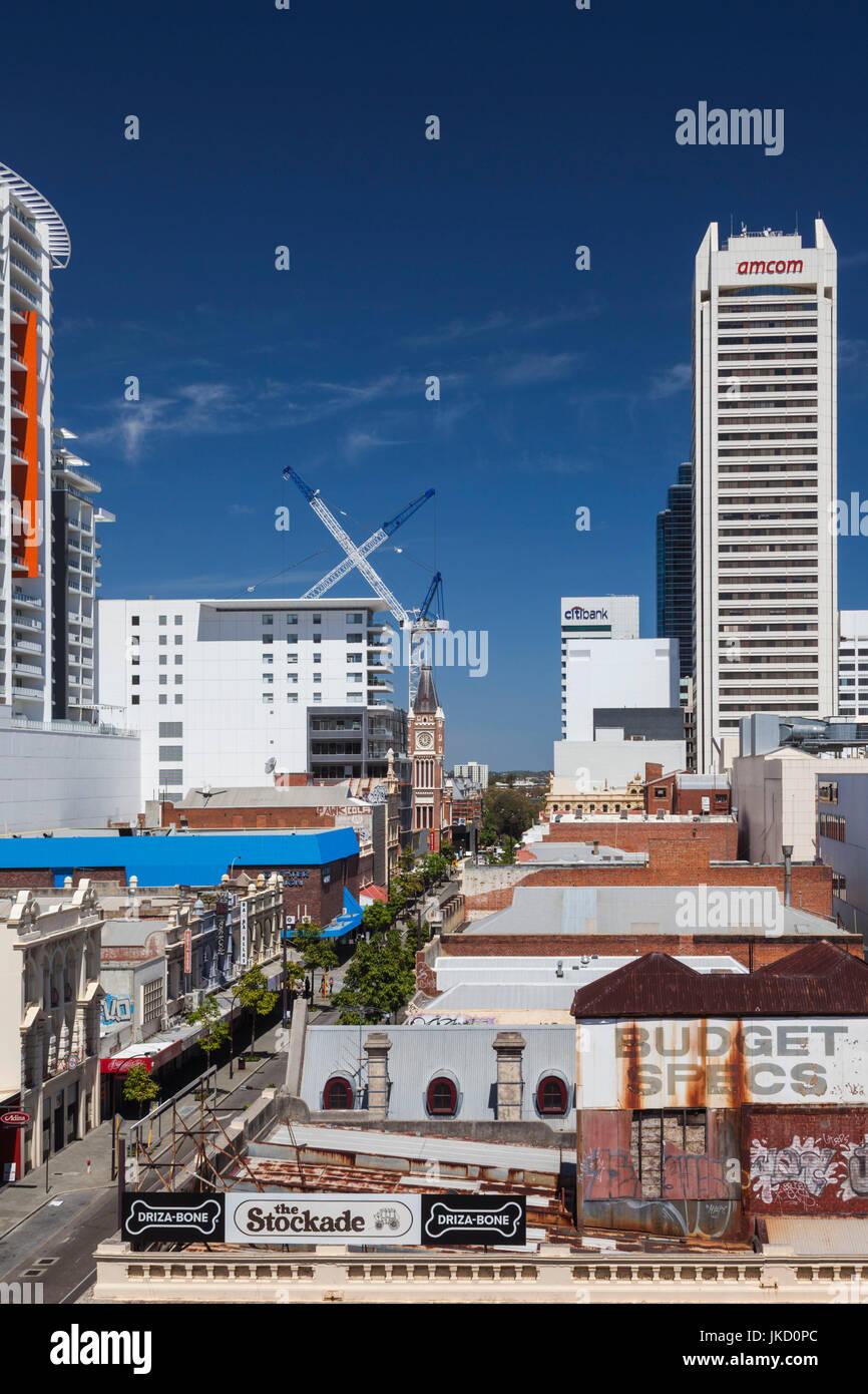 Australia, Western Australia, Perth, buildings along Barrack Street, elevated view - Stock Image