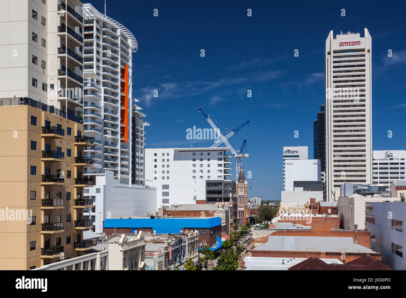 Australia, Western Australia, Perth, buildings along Barrack Street, elevated view - Stock Image