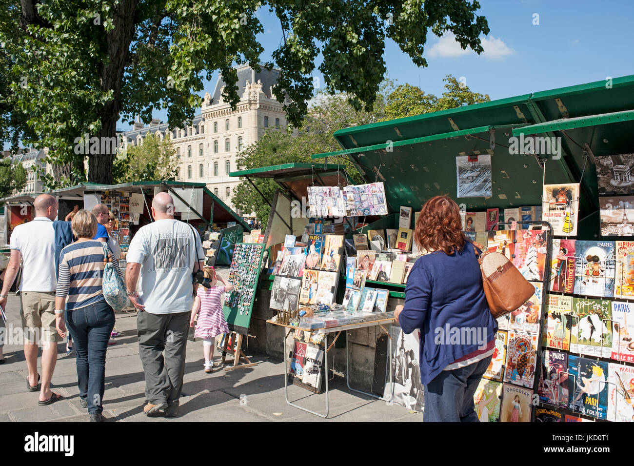 Paris, France - Left Bank books on display on book stall around Notre Dame - Stock Image