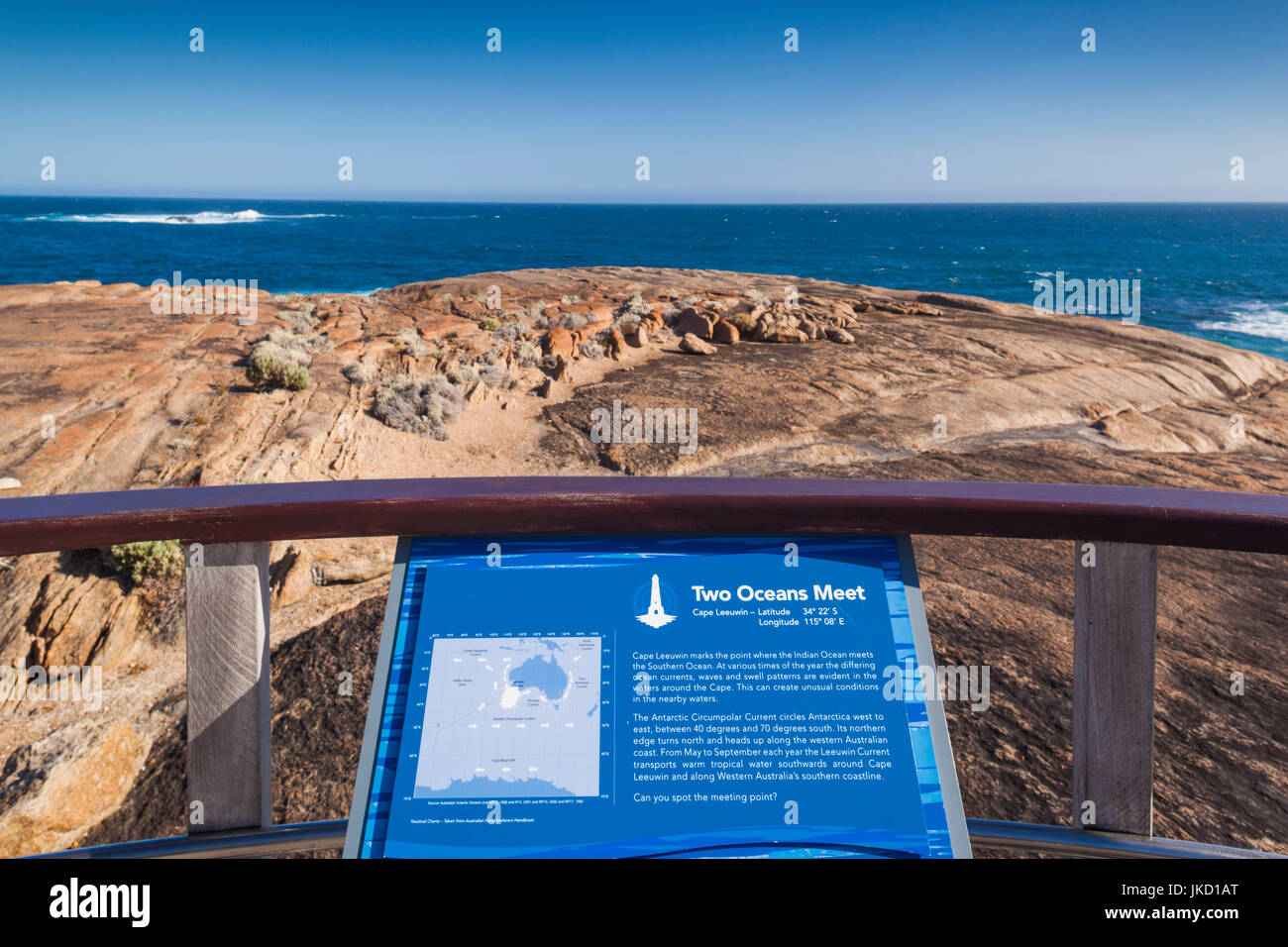 Australia, Western Australia, The Southwest, Cape Leeuwin, meeting point of the Southern and Indian Oceans - Stock Image