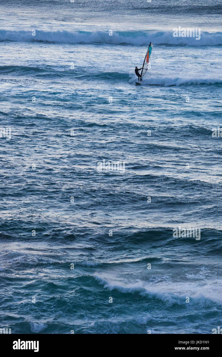 Australia, Western Australia, The Southwest, Prevelly, Surfers Point, windsurfers, dusk Stock Photo