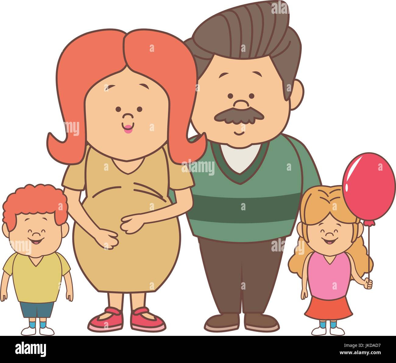 happy young family dad and pregnant mother kids - Stock Vector