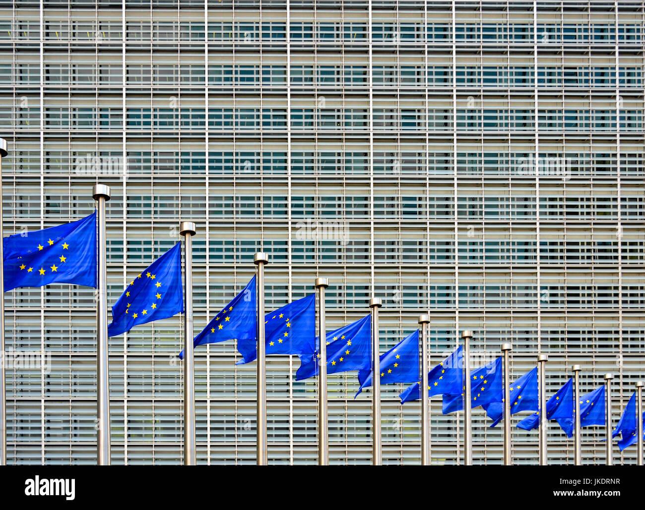 Brussels, Belgium. European Commission Berlaymont building - EU flags flying - Stock Image