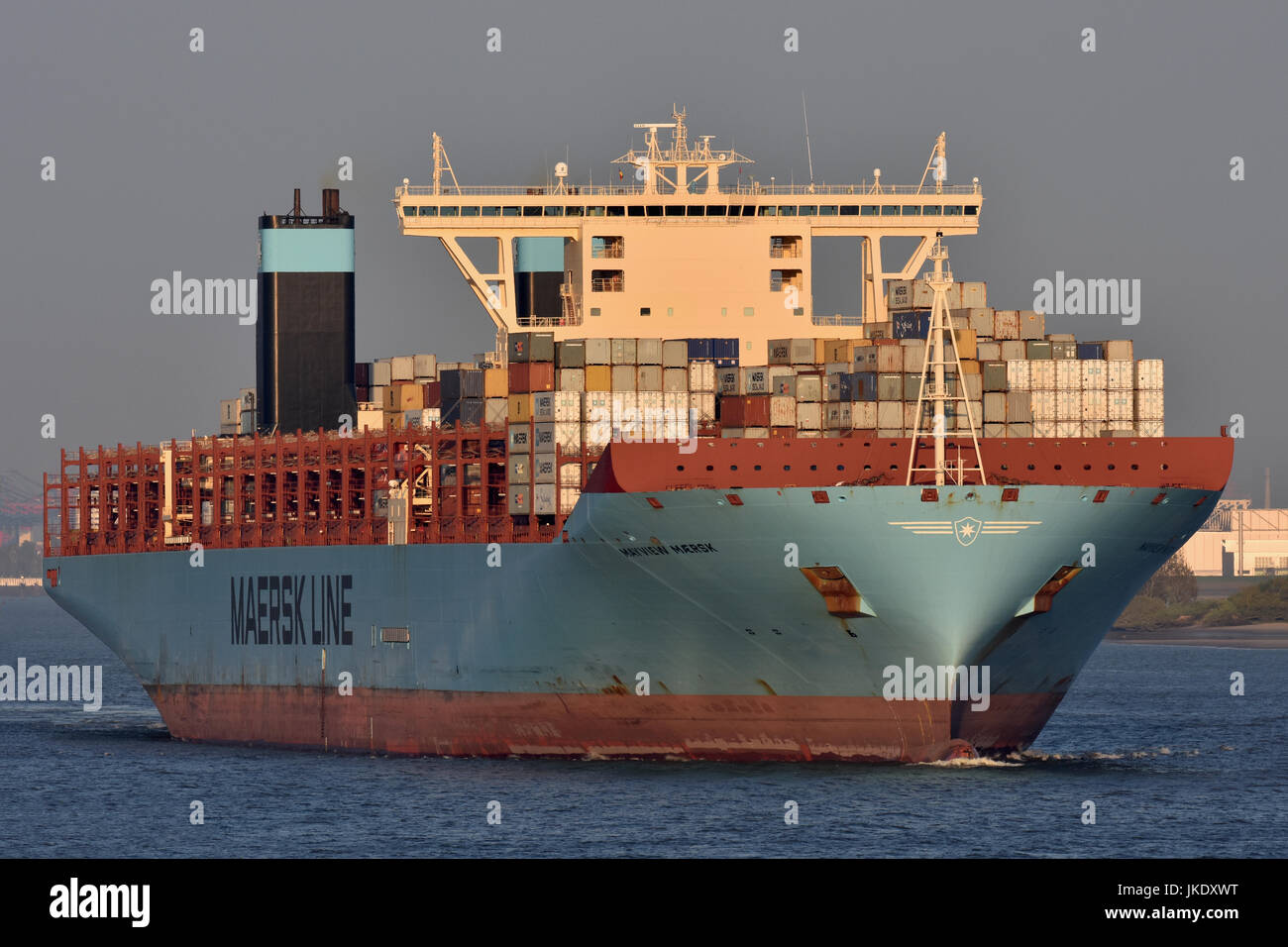 Triple-E contrainervessel Mayview Maersk outbound from Hamburg - Stock Image