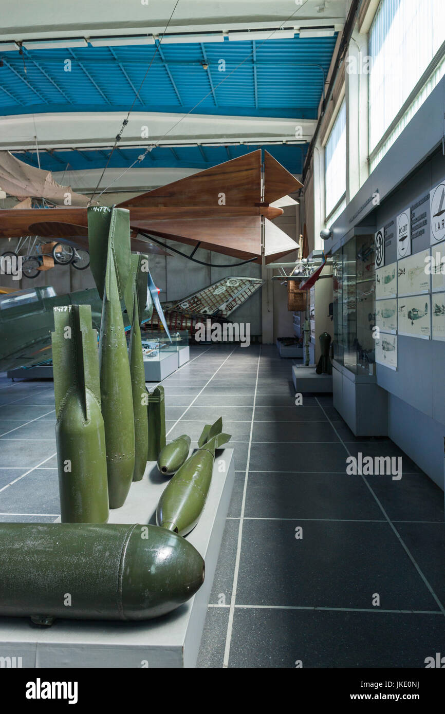 Romania, Bucharest, National Military Museum, aerial bombs - Stock Image