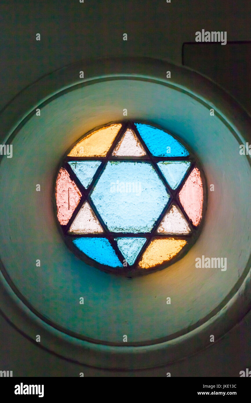 Romania, Bucharest, Tailors Synagogue, housing the Jewish History Museum, Star of David, stained-glass window detail Stock Photo