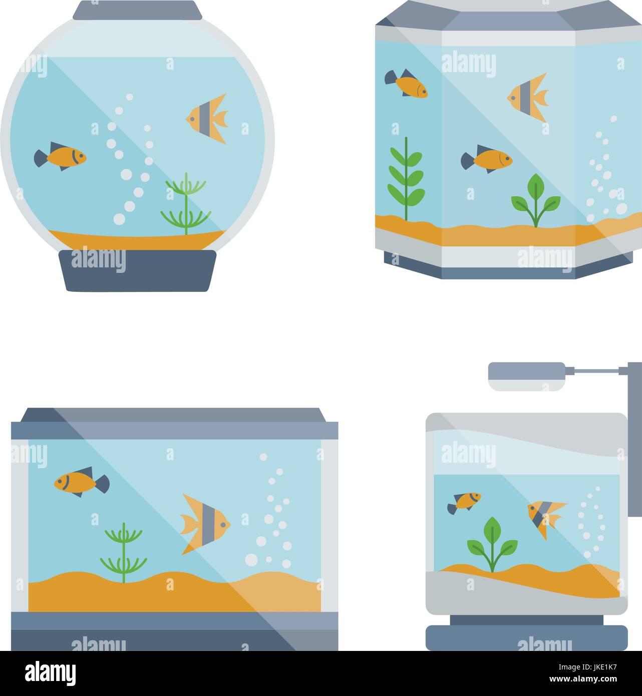 Cartoon vector home aquarium illustration with water, plant. - Stock Image