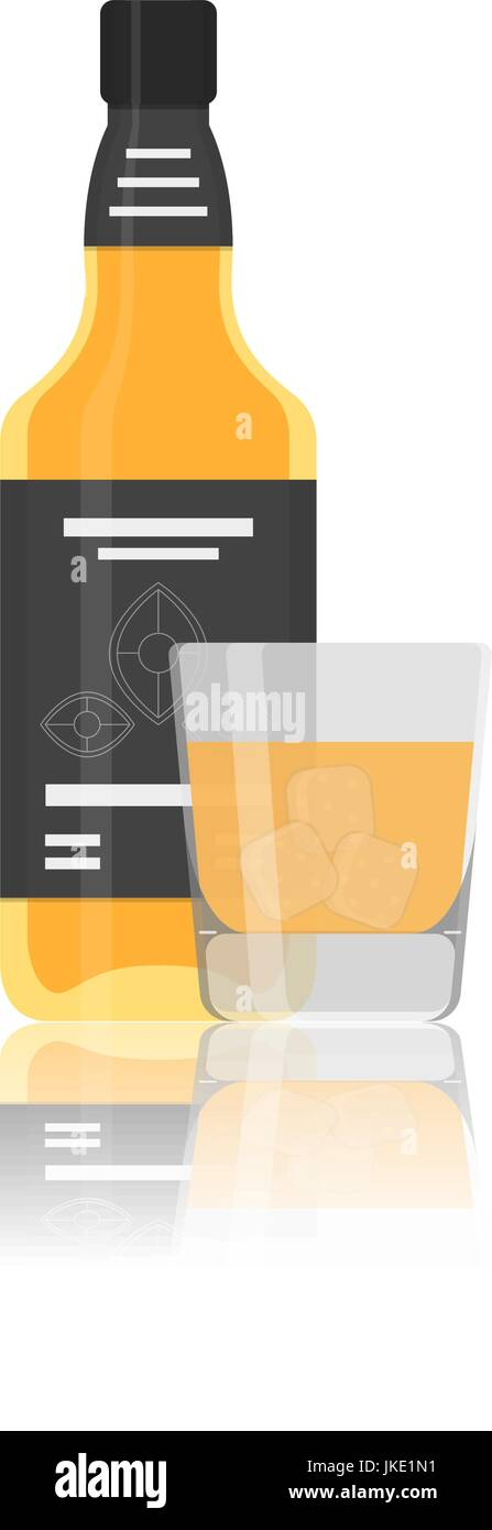 Vector flat icon of alcohol bottle with glass - Stock Vector