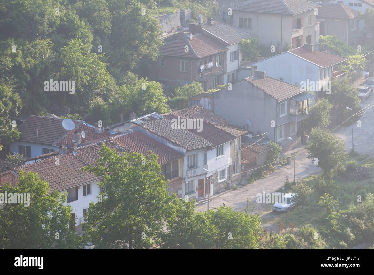 Bulgaria, Central Mountains, Veliko Tarnovo, Asenova, Old Fortress Area, Tsarevets Fortress, elevated view of the Stock Photo