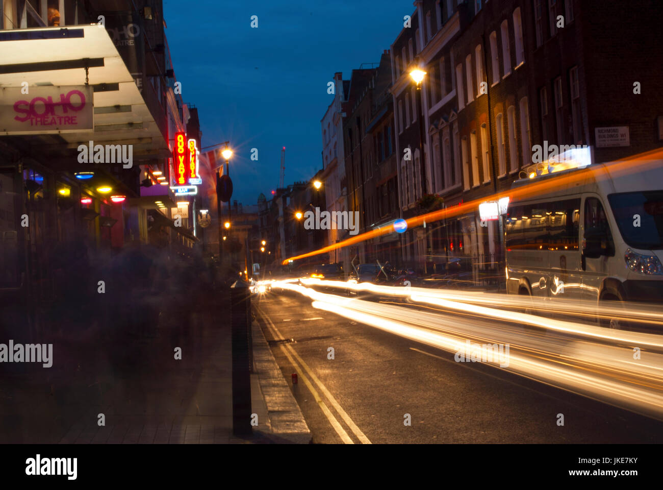 Dean Street at night long exposure - Stock Image