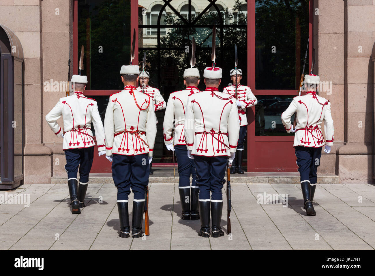 Bulgaria, Sofia, Bulgarian President's Building, changing of the guard ceremony - Stock Image