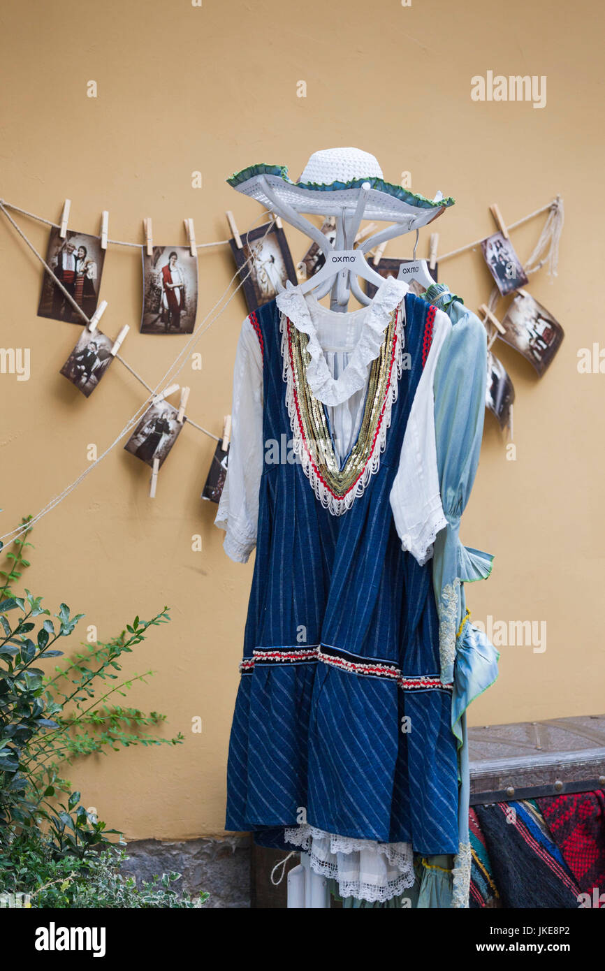 Bulgaria, Southern Mountains, Plovdiv, Old Plovdiv, traditional costume outside photo studio Stock Photo