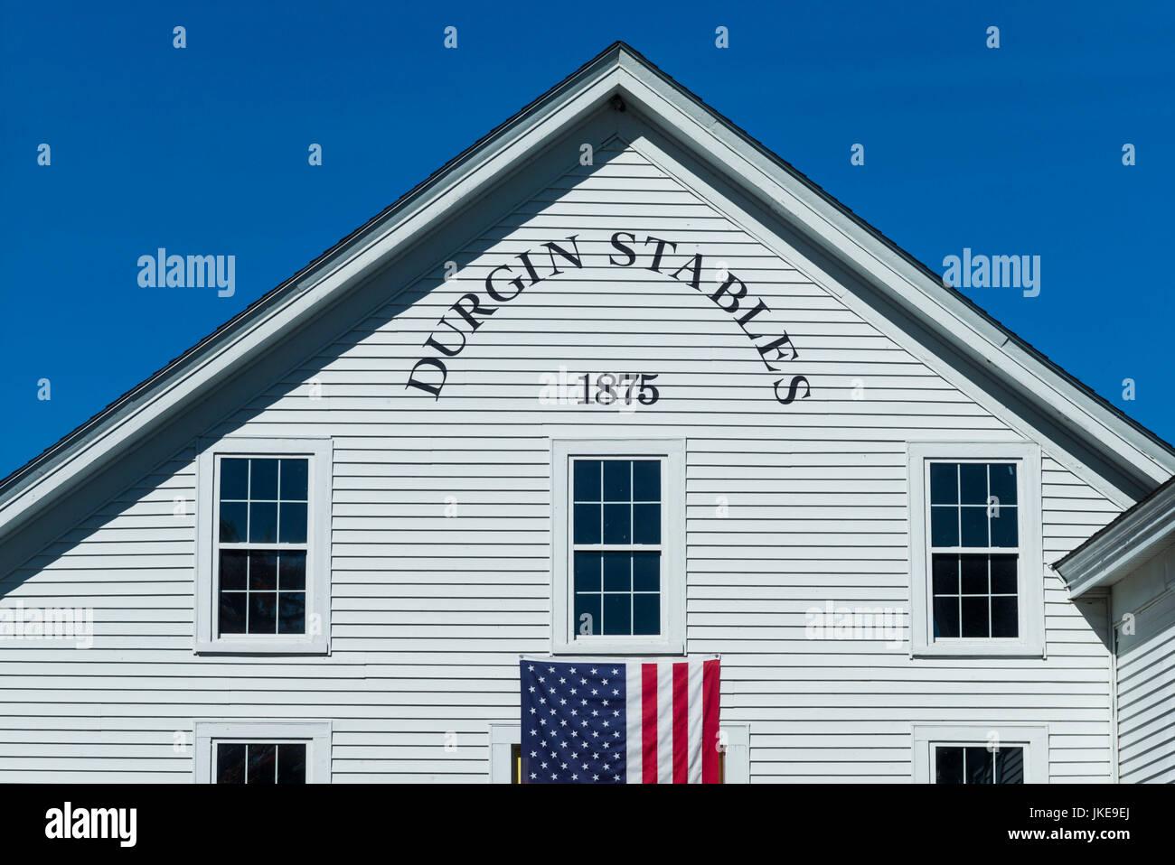 USA, New Hampshire, Lake Winnipesaukee Region, Wolfeboro, Durgin Stables building - Stock Image