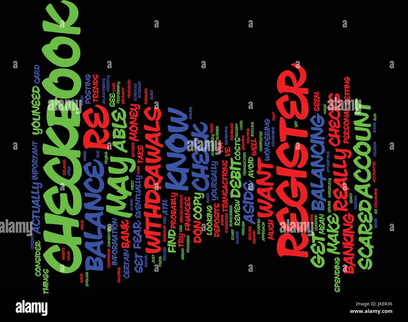 are you scared of your checkbook register text background word cloud