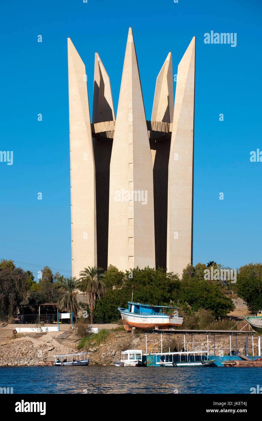 Aegypten, Assuan,  Denkmal der ägyptisch-russischen Freundschaft am Assuan-Staudamm, - Stock Image