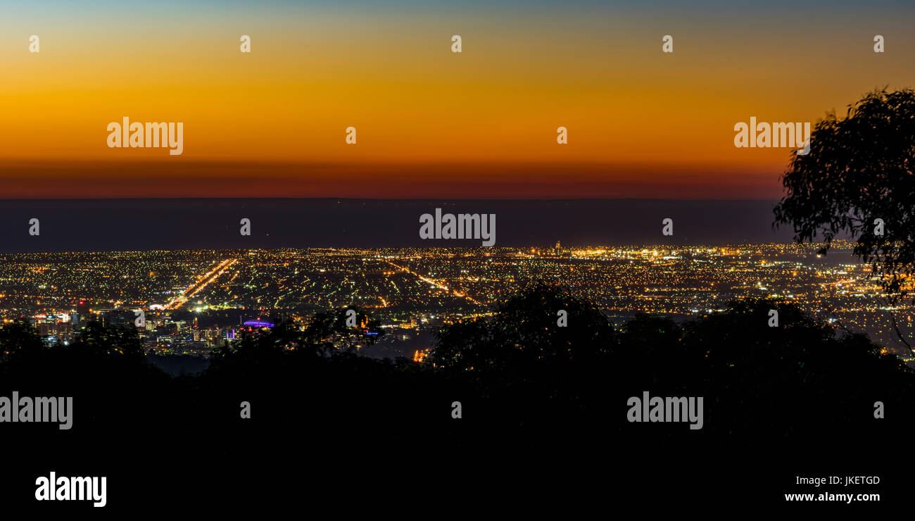 View over Adelaide and Port Adelaide from Mount Lofty, South Australia - Stock Image