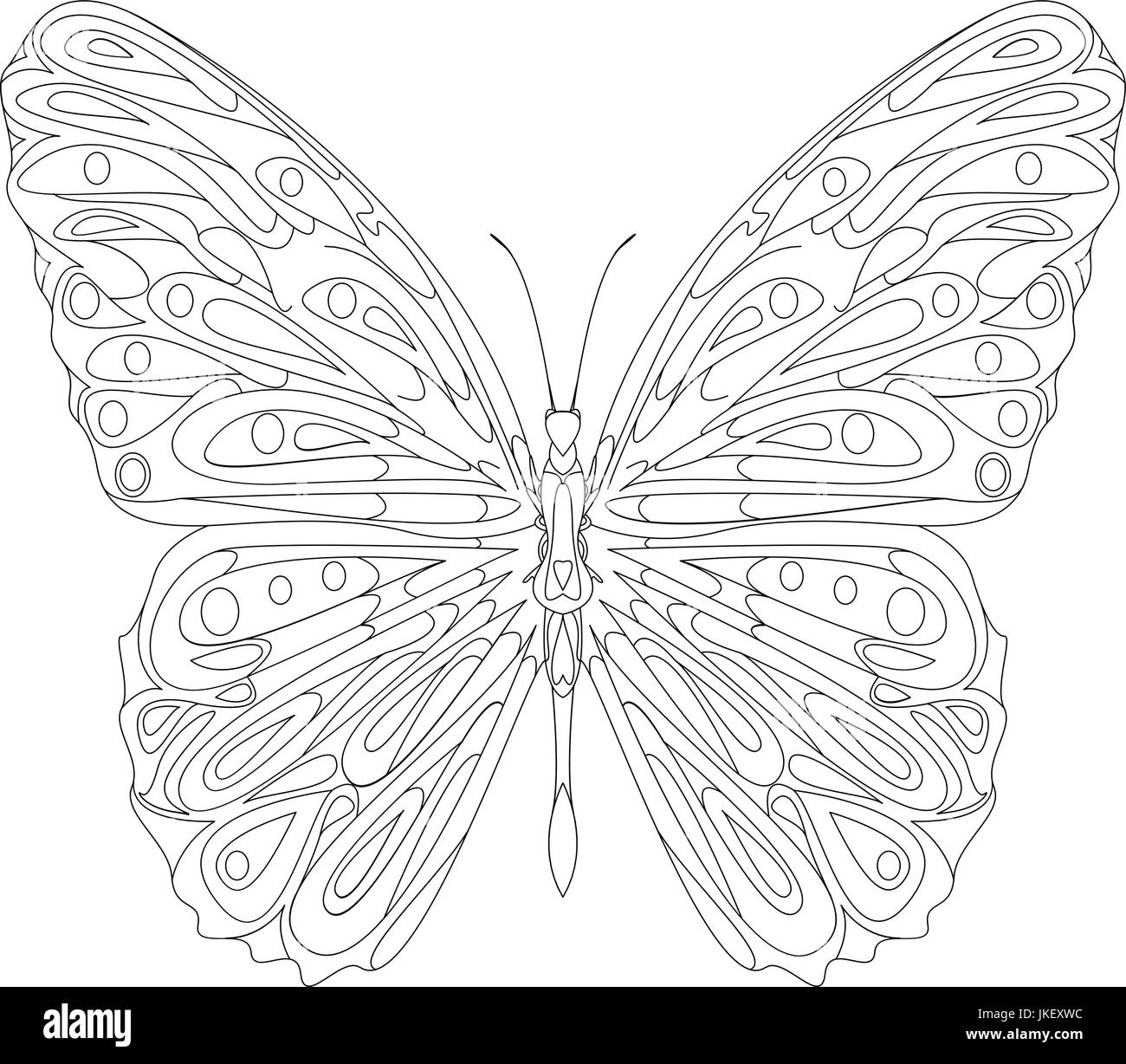 Hand Drawn Butterfly Zentangle Style For Coloring Book Shirt Design Or Tattoo
