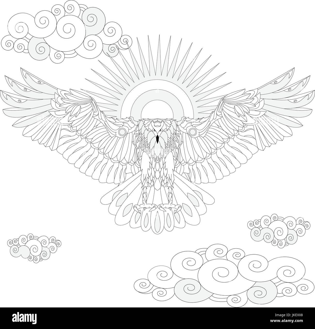 Eagle bird coloring book for adults vector illustration. Anti-stress ...