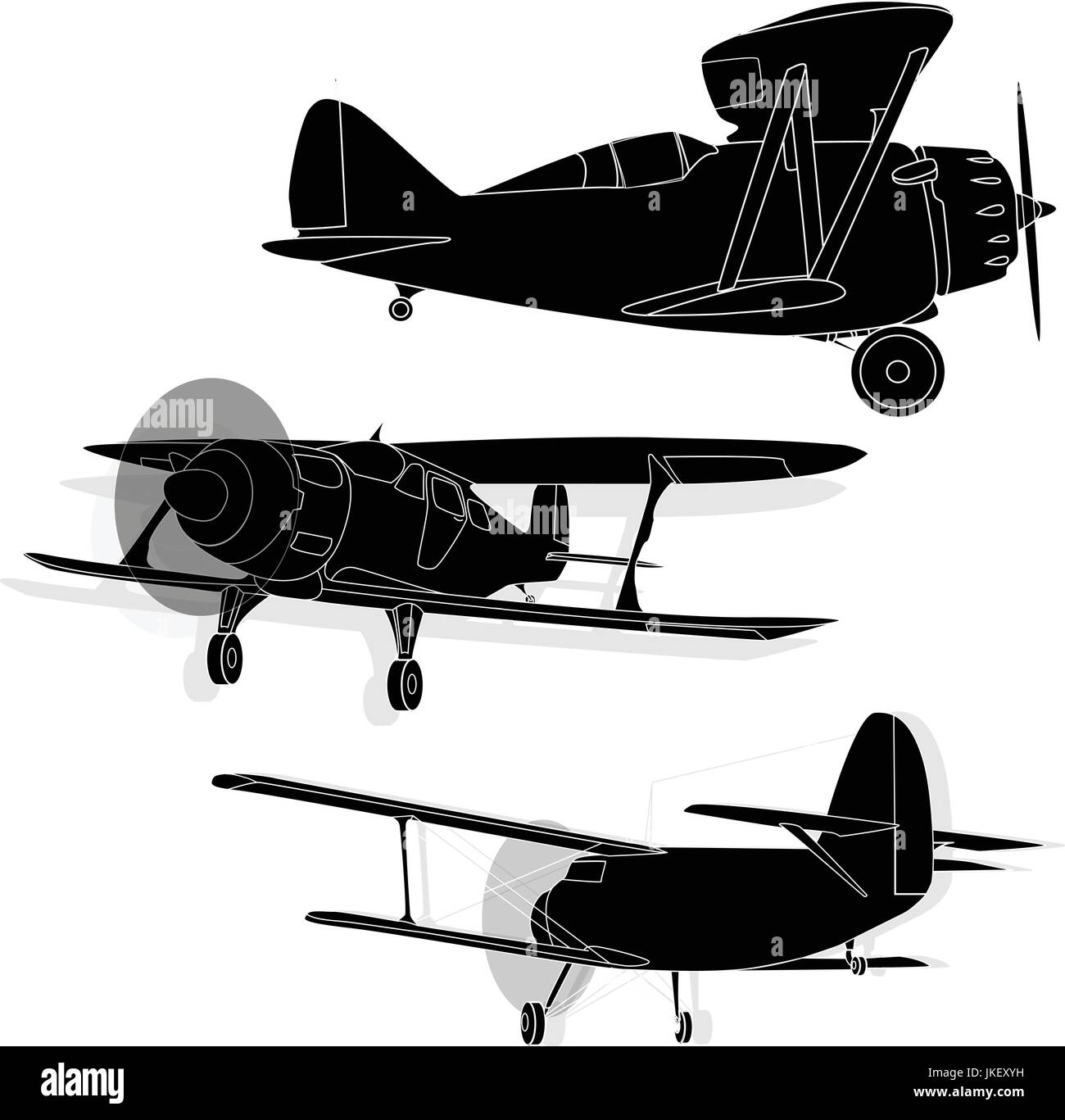 A bi plane isolated on sky. Fine  illustration. - Stock Vector