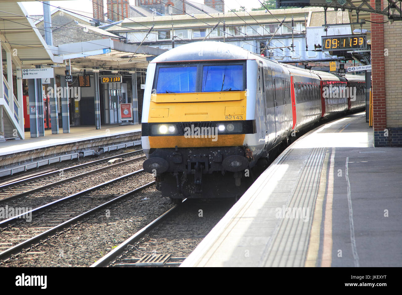 Greater Anglia mainline train at platform Ipswich railway station, Suffolk, England, UK - Stock Image
