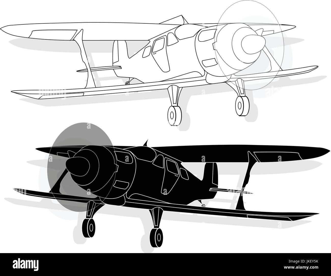 A bi plane isolated on sky. Fine  illustration. - Stock Image