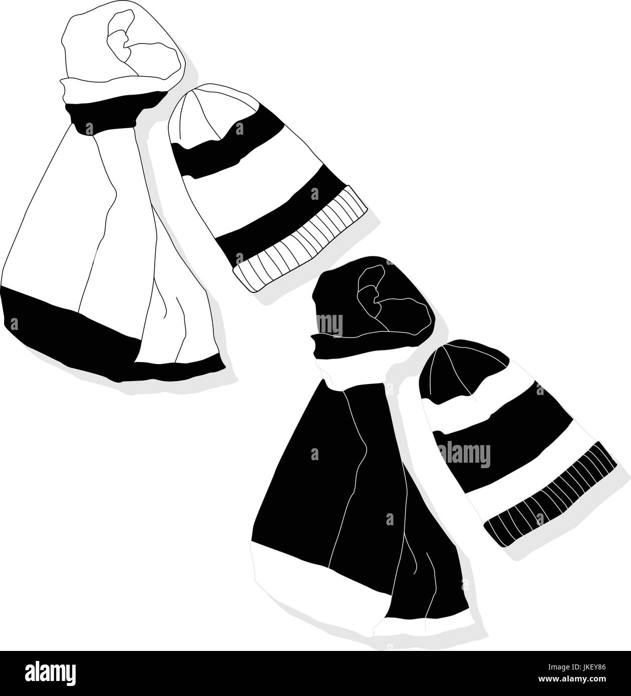 winter hat and scarf set isolated - Stock Vector