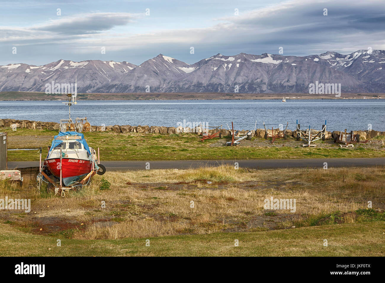 A Northern Boatyard in Iceland - Stock Image