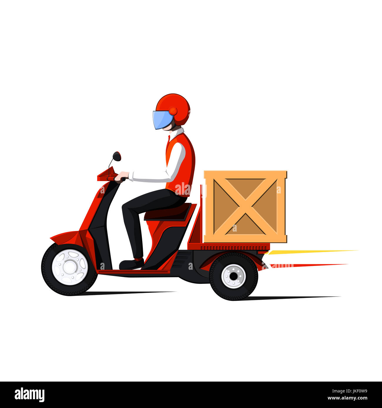 Fast delivery service. Man rides on motor scooter. Flat illustration on white background. - Stock Image