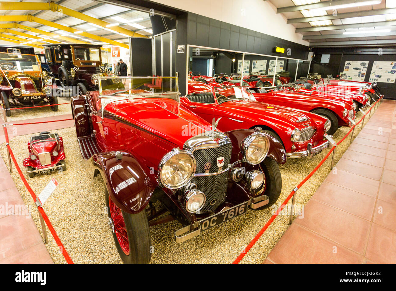A selection of various sports cars in The Red Room at the Haynes International Motor Museum, Sparkford, Somerset, - Stock Image