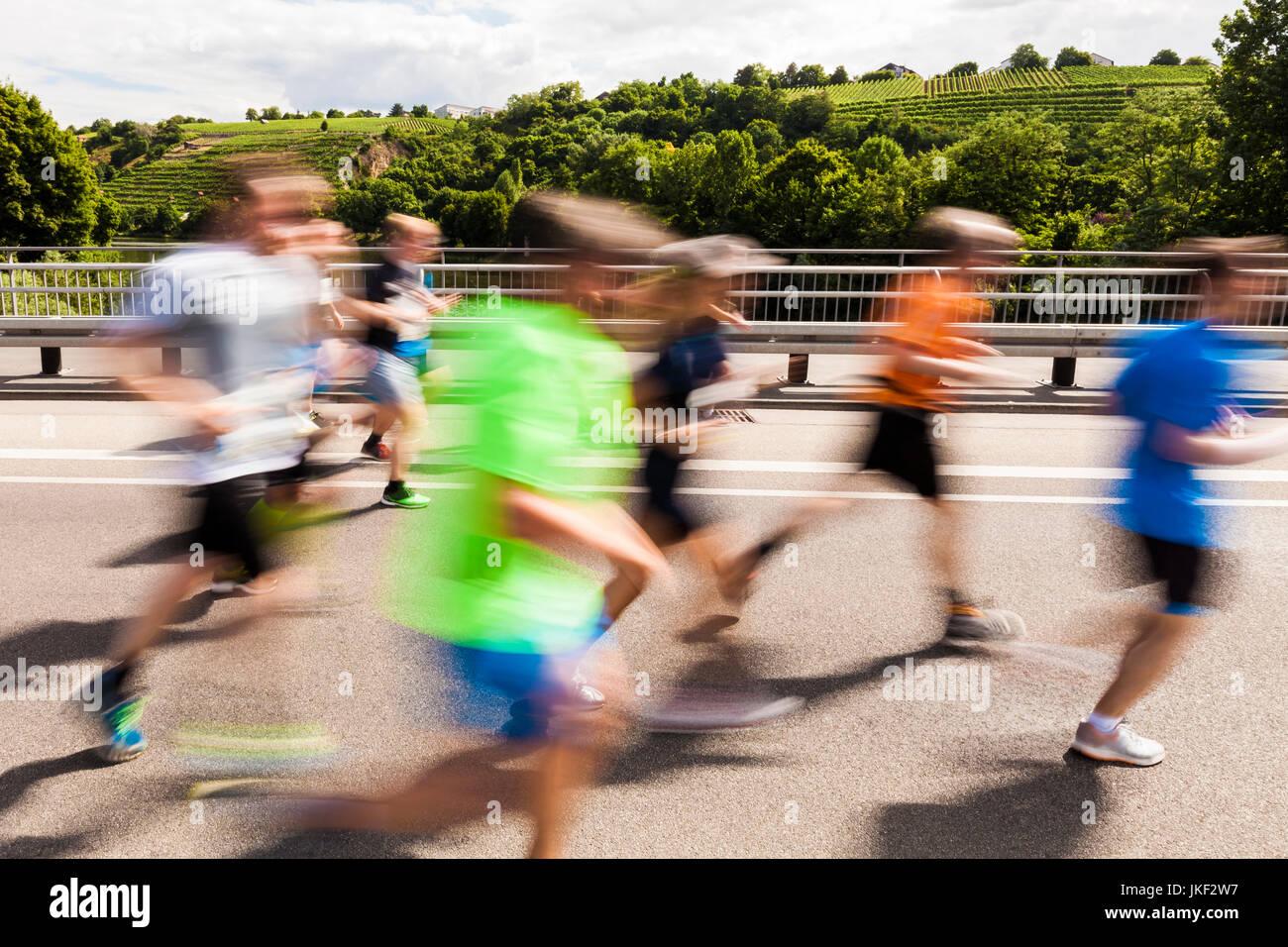 Deutschland, Baden-Württemberg, Stuttgart, Weinberge, Stuttgart-Lauf, Halbmarathon, Veranstaltung für - Stock Image