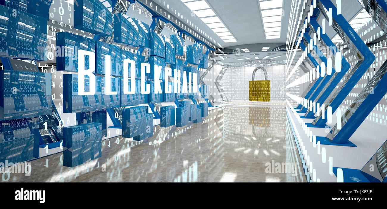 Digital room with padlock and word blockchain, 3d illustration - Stock Image