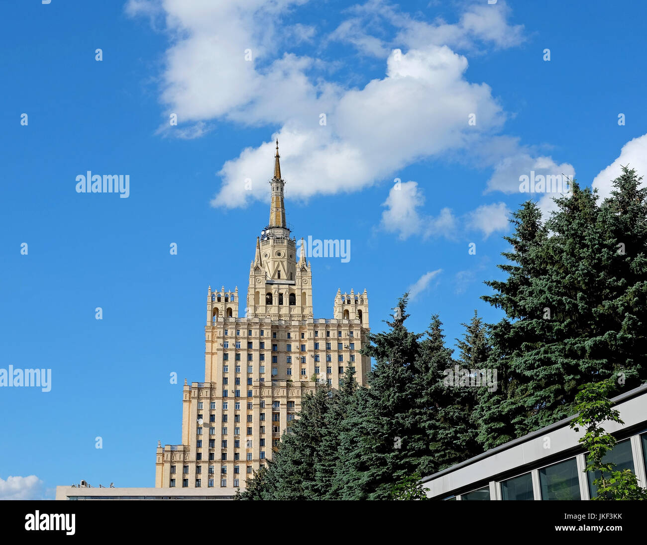 Detail of Skyscraper on the Kudrinskaya Square Stock Photo