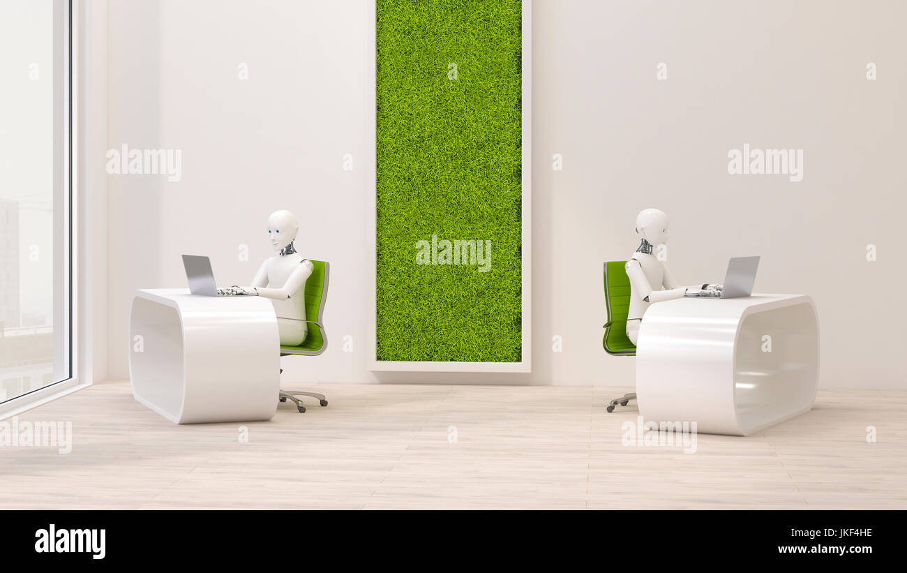 Robots using laptops in futuristic office , 3d rendering - Stock Image