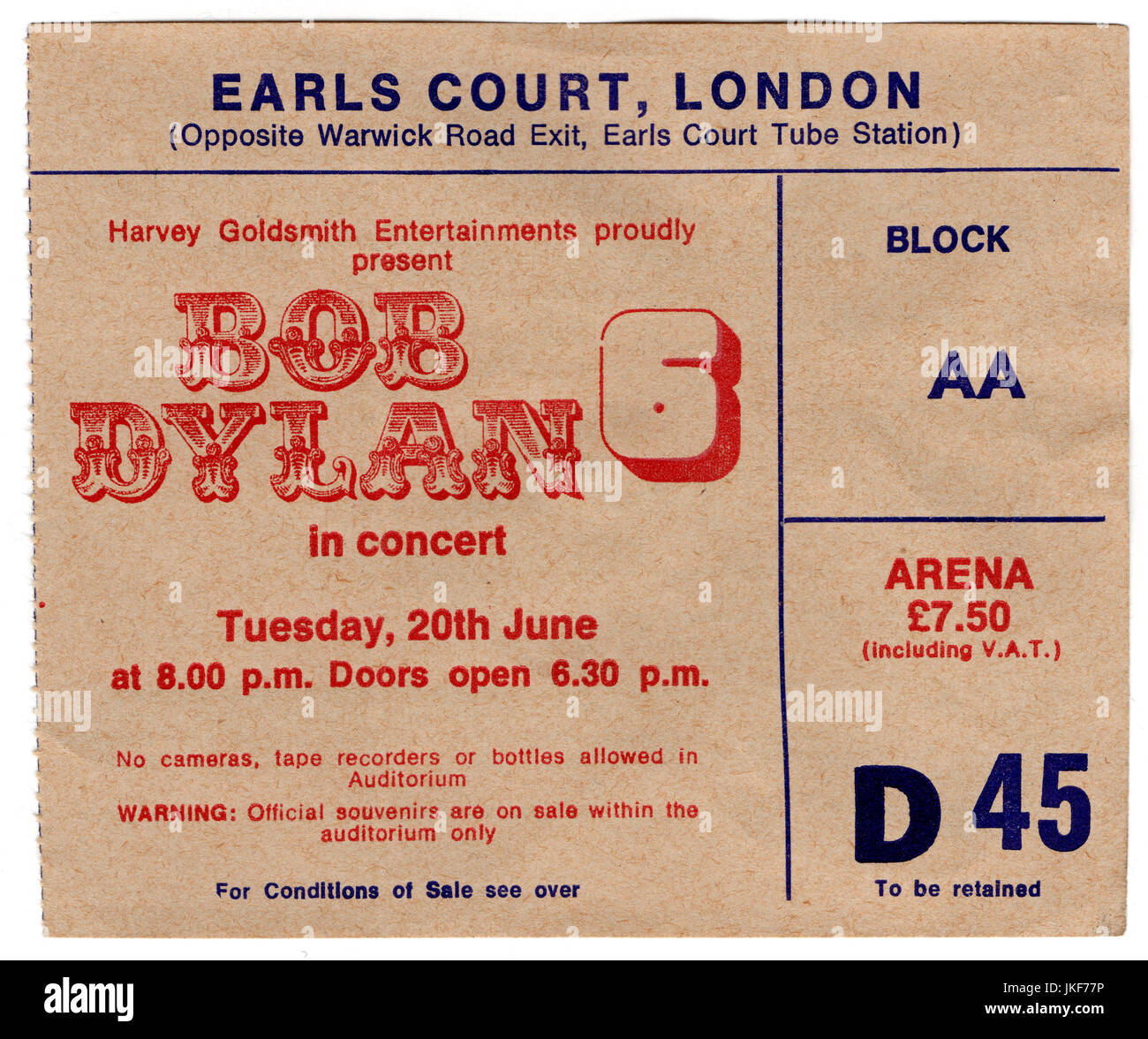 Ticket stub for a Bob Dlyan concert at Earls Court in London, 20th June 1978. - Stock Image