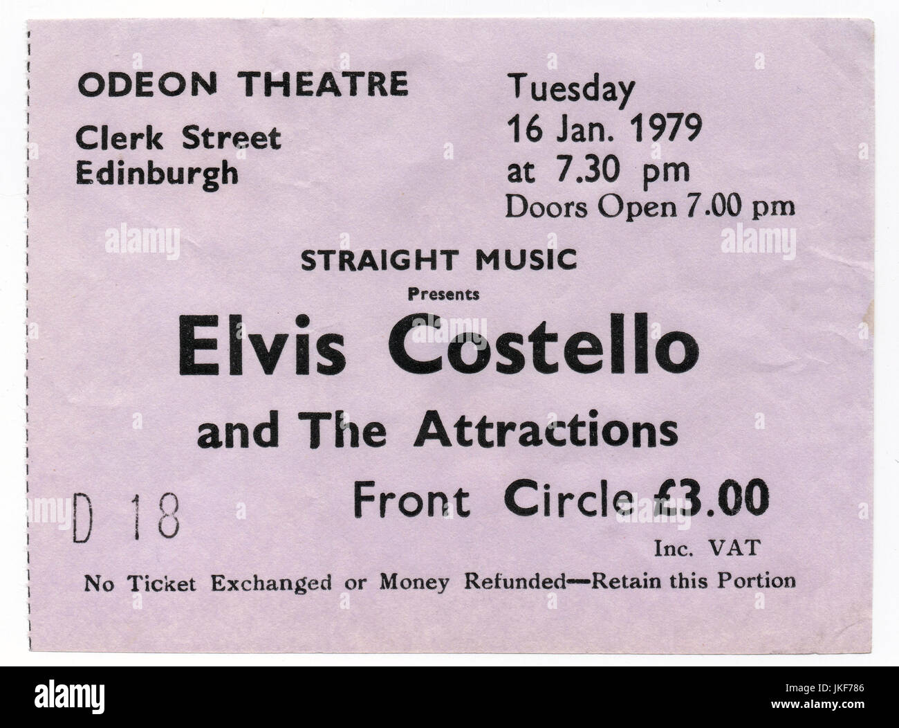 Ticket stub for a Elvis Costello and The Attractions concert at the Odeon Theatre in Edinburgh, 16th January 1979. - Stock Image