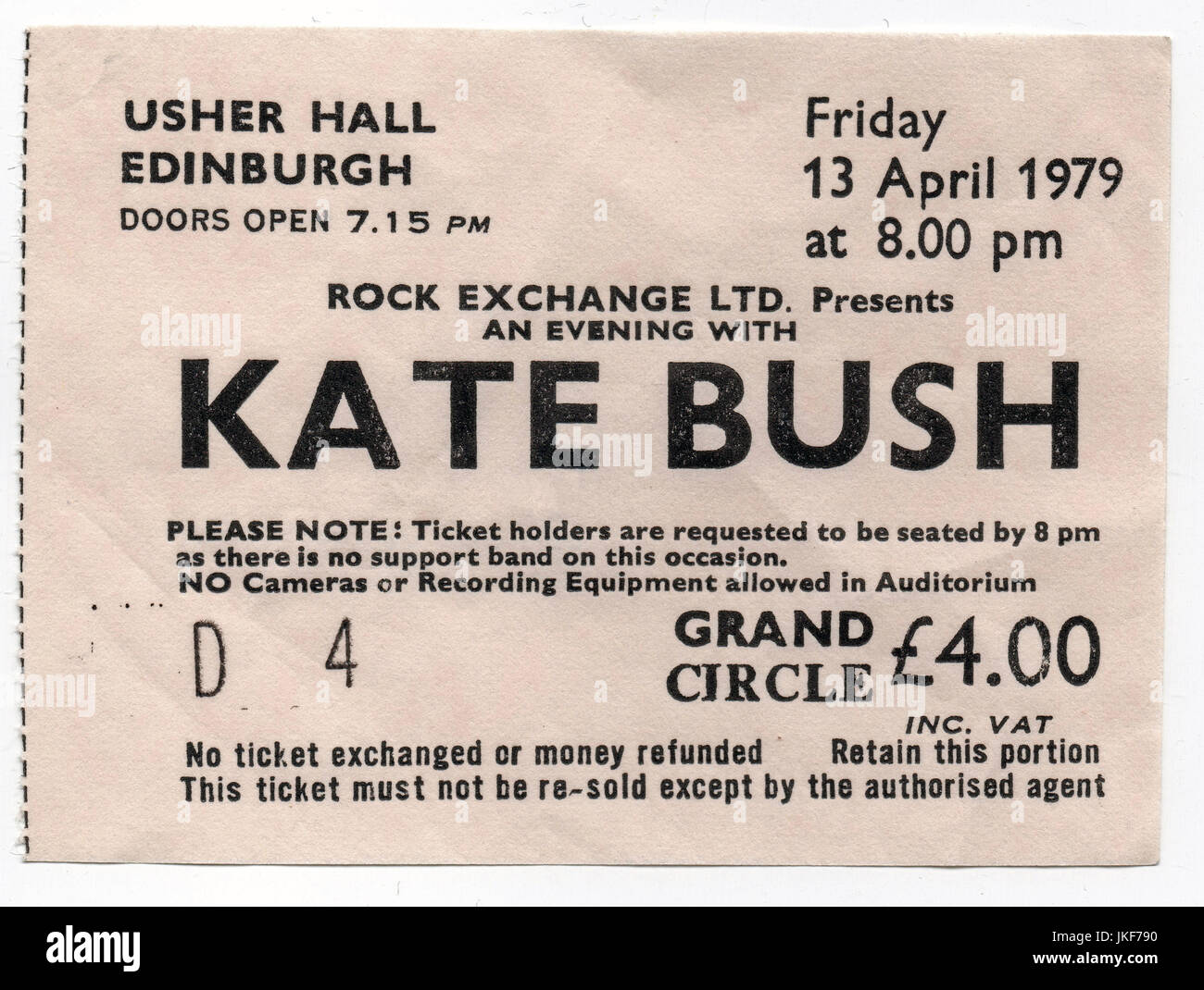 Ticket stub for a Kate Bush concert at the Usher Hall in Edinburgh, 13th April 1979. - Stock Image