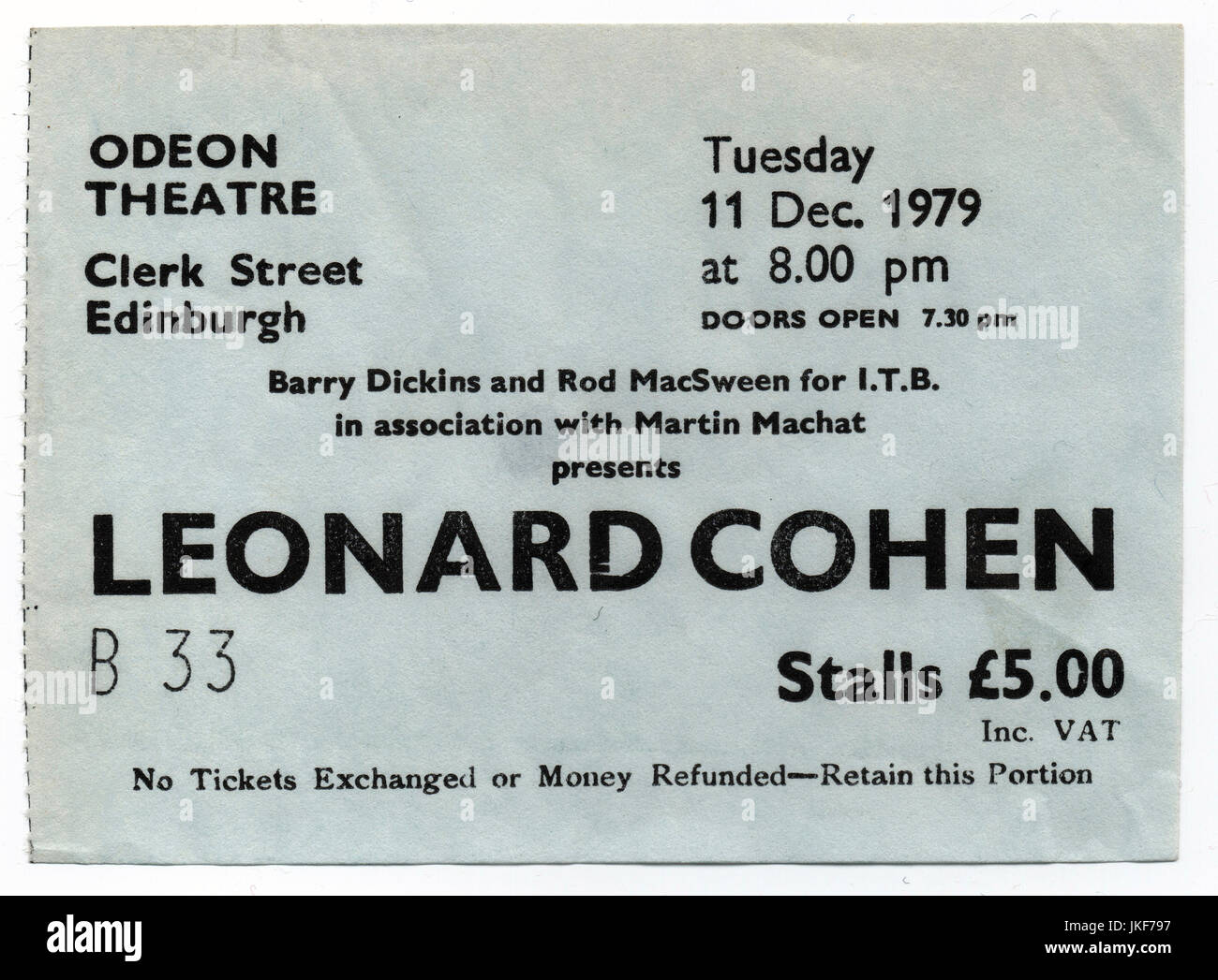 Ticket stub for a Leonard Cohen concert at the Odeon Theatre in Edinburgh, 11th December 1979. - Stock Image