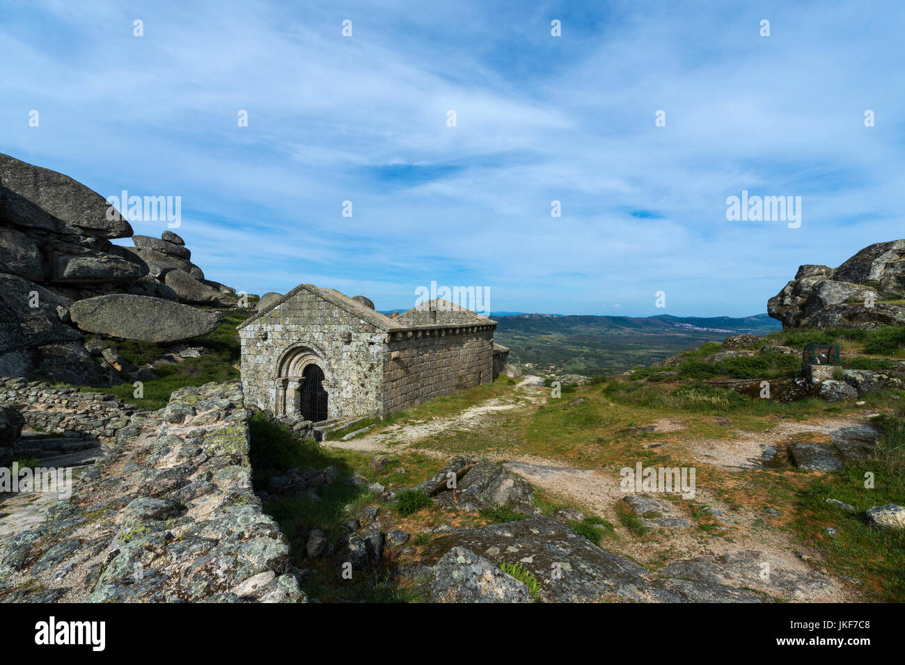The romanic chapel of Sao Miguel (Capela de São Miguel) in the outskirts of the medieval village of Monsanto in Stock Photo