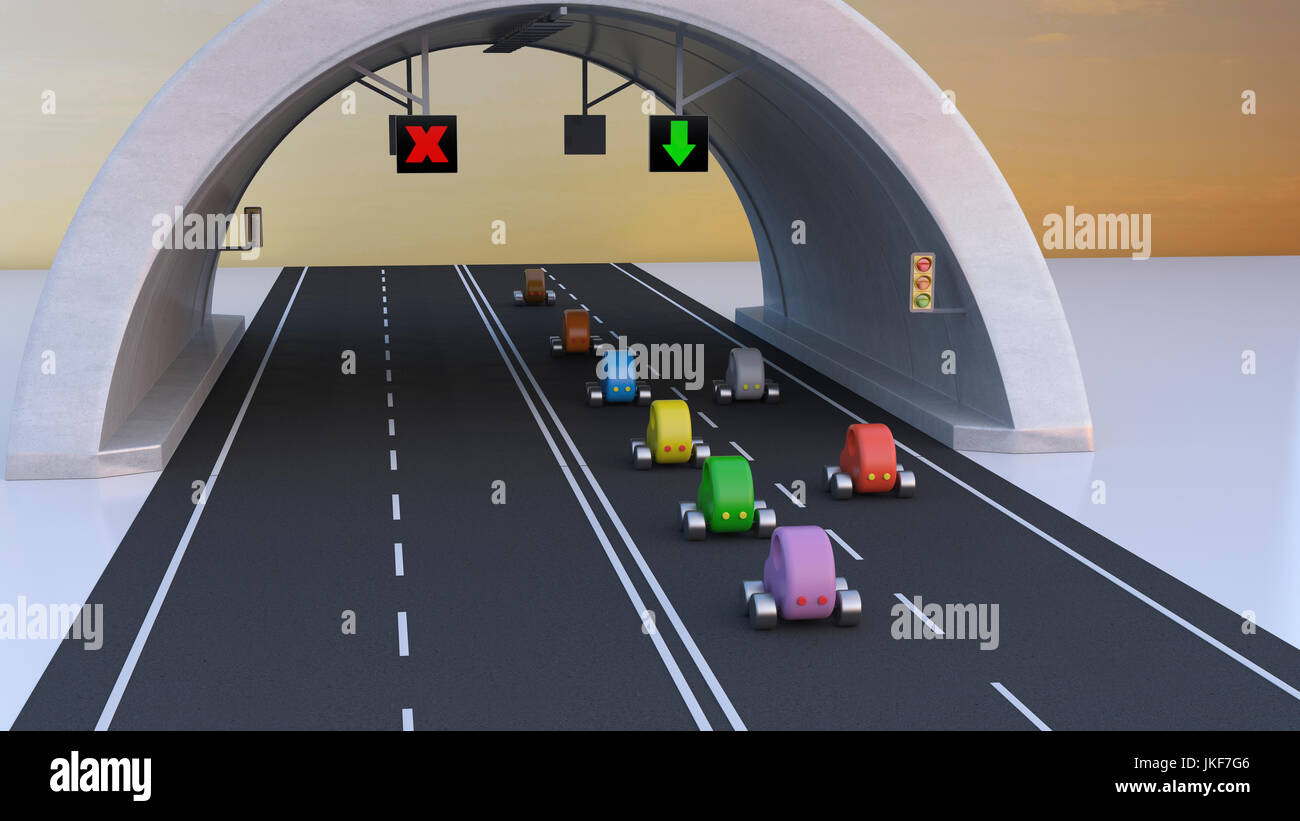 3D Rendering, Cars following green arrow under tunnel - Stock Image