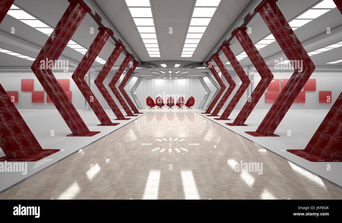 Futuristic room with five red swivel chairs, 3D Rendering - Stock Image