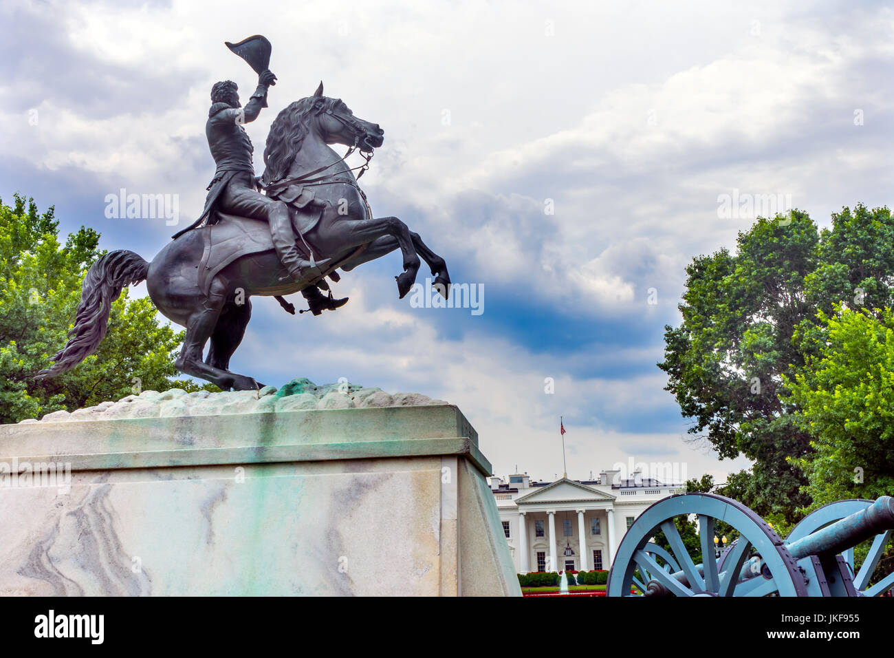 Jackson Statue Lafayette Park White House Pennsylvania Ave Washington DC.  Statue created 1850 Clark Mills Sculptor - Stock Image