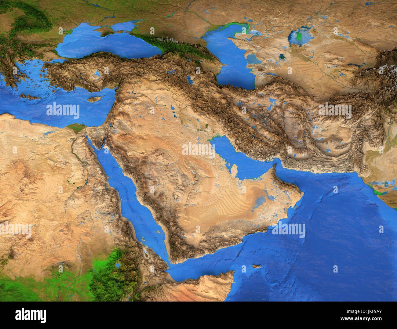 Middle East map Gulf Region Detailed satellite view of the Earth