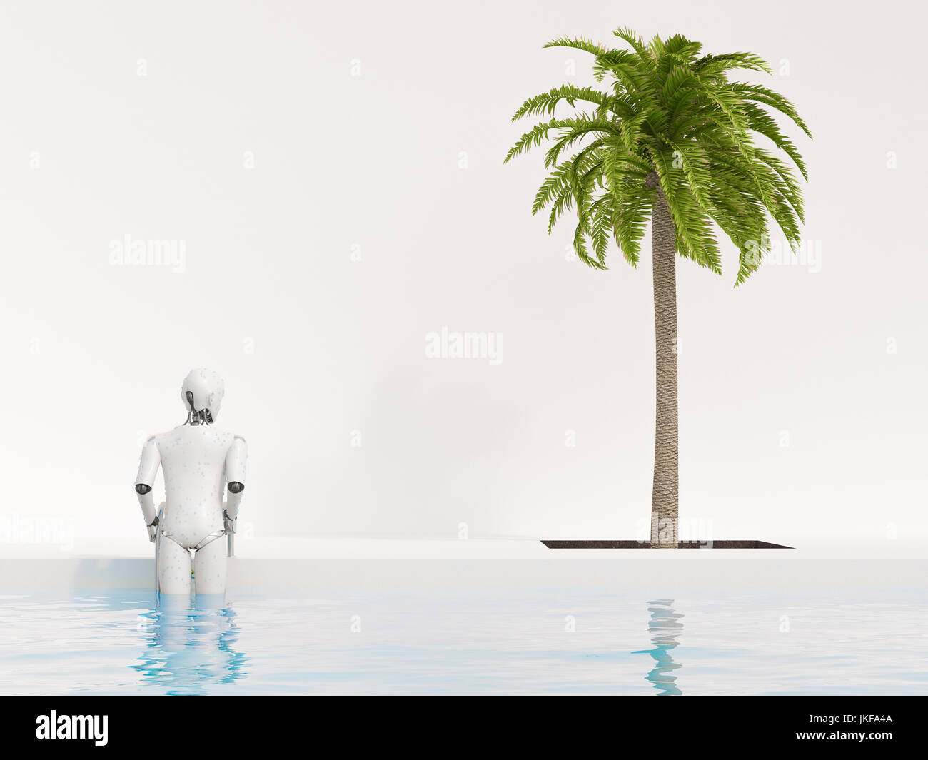 Robot getting out of swimming pool, 3d rendering - Stock Image