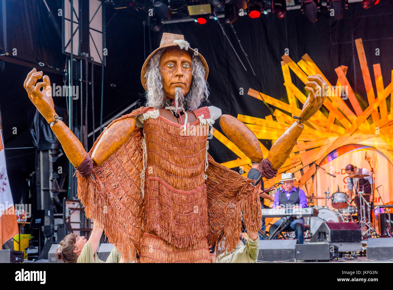 Vancouver, Canada. 22nd July, 2017. Mortal Coil's First Welcome Hych'ka, Giant Coast Salish puppet appears - Stock Image