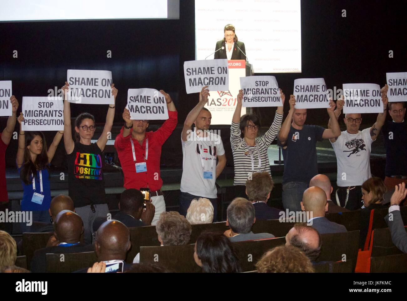 Paris, France, IAS, International AIDS Society Meeting, AIDS Activists Protesting French President Macron's non Stock Photo