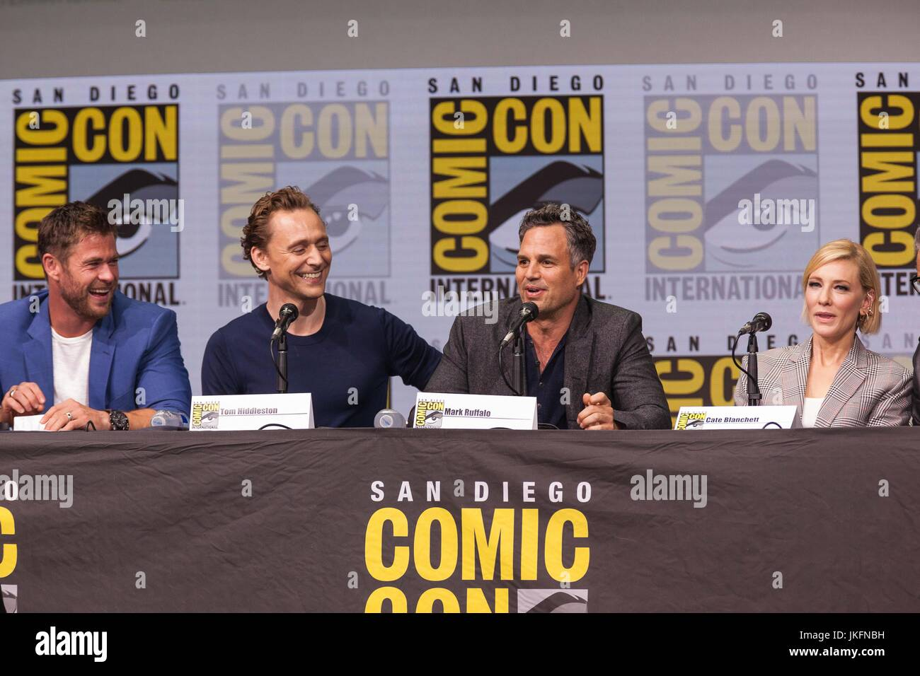 San Diego, US. 22nd July, 2017. Day three in Hall H. Marvel Studios President Kevin Feige giving Hall H fans a look - Stock Image
