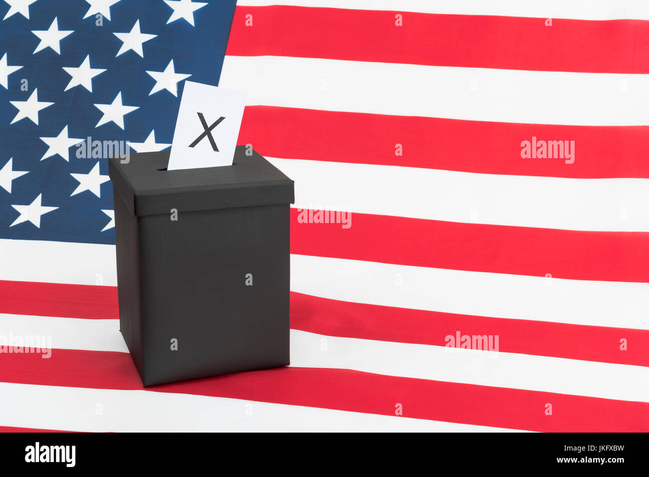 Black ballot box + American  US Stars and Stripes - US Presidential, midterm elections, US Primaries, voter registration, - Stock Image
