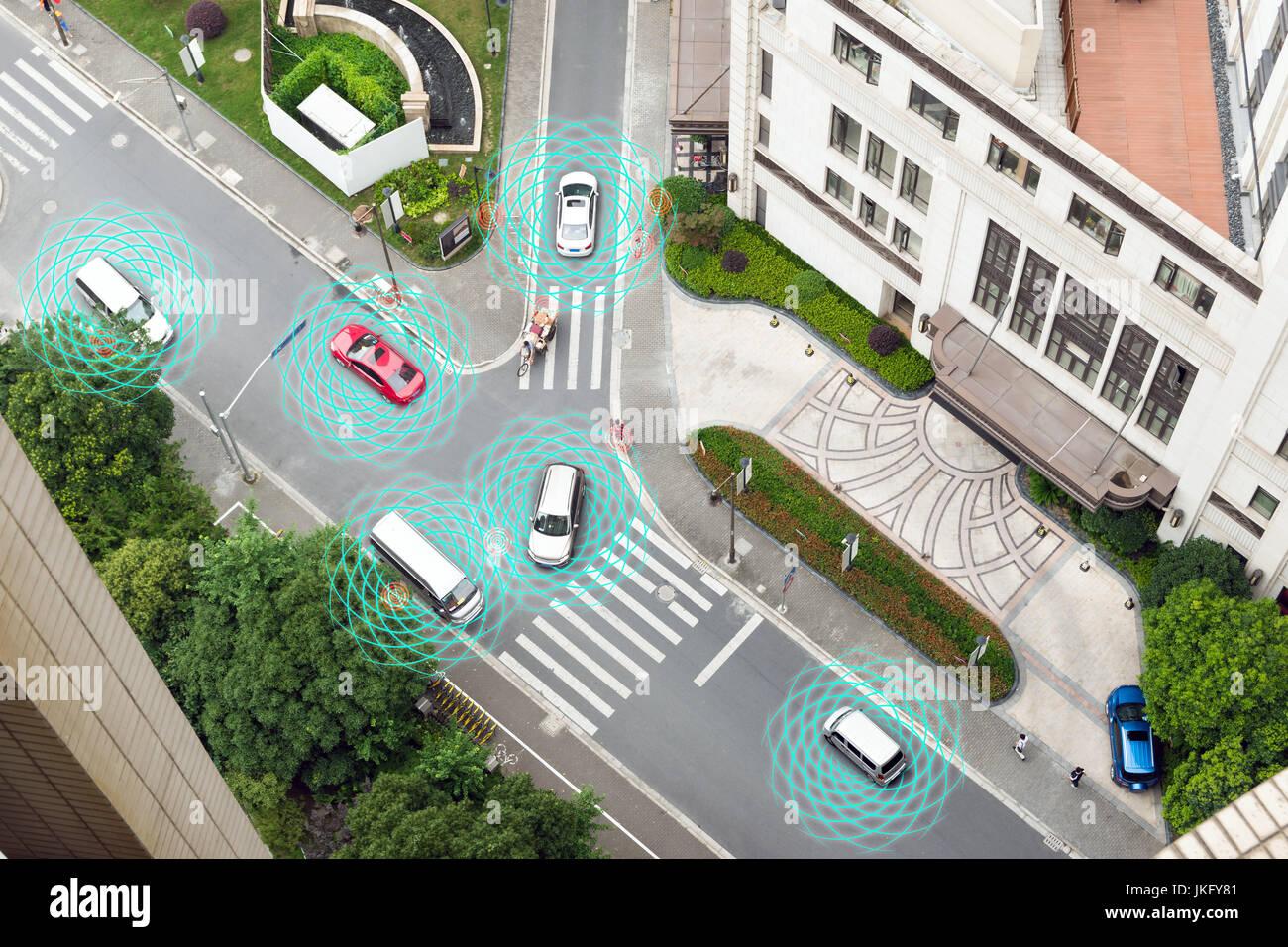 Smart car (HUD) , Autonomous self-driving mode vehicle on metro city road iot concept with graphic sensor radar - Stock Image